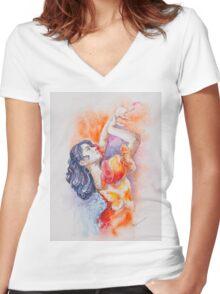 Flamenco Dancer Women's Fitted V-Neck T-Shirt