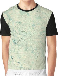 Manchester Map Blue Vintage Graphic T-Shirt