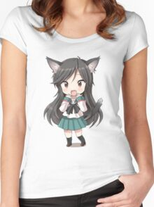 Anime cat girl chibi Women's Fitted Scoop T-Shirt