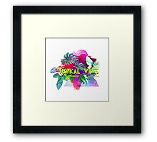 Tropical vibes  slogan.  Modern and stylish typographic design  Framed Print