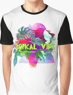 Tropical vibes  slogan.  Modern and stylish typographic design  Graphic T-Shirt