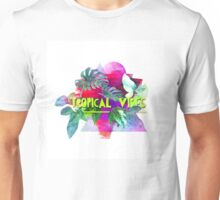 Tropical vibes  slogan.  Modern and stylish typographic design  Unisex T-Shirt