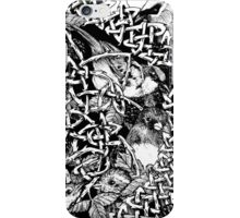 Blackberry Bramble Songbirds Knot Wreath - Black and White iPhone Case/Skin