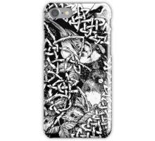 Blackberry Bramble Songbirds Knot Wreath - Black and White iPhone Case/Skin