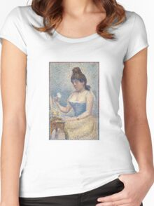 Georges Seurat  - Young Woman Powdering Herself 1889 Women's Fitted Scoop T-Shirt