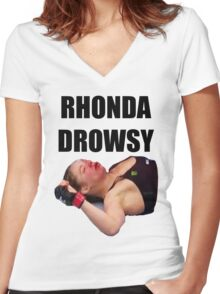 Rhonda Rousey Drowsy Women's Fitted V-Neck T-Shirt