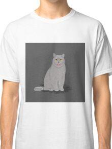 Funny grey meme cat cute cat lady gifts for cat owner pet portraits custom pet gifts Classic T-Shirt