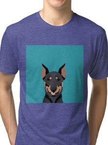 Doberman Pinscher cute pet portrait customizable dog gift for doberman owner pet portrait Tri-blend T-Shirt
