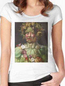 Giuseppe Arcimboldo - Rudolf II of Habsburg as Vertumnus 1590 , Fashion Portrait, Italian Handsome Man. Women's Fitted Scoop T-Shirt