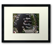 yacht harbor aerial view Framed Print