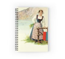 1890s Madonna del Sasso and woman in Ticinese dress lithography Spiral Notebook