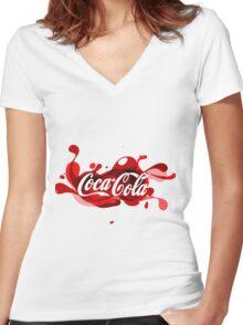 coca cola, coca, cola, cocacola Women's Fitted V-Neck T-Shirt