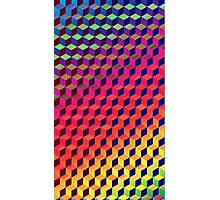 Multi color Isometric Cube Pattern  Photographic Print