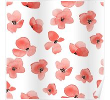 Floral background with red watercolor flowers Poster