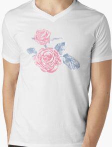 Rose colored ink sketch  Mens V-Neck T-Shirt