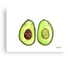 Avocado watercolour painting Canvas Print