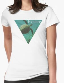 Sea turtle ocean adventure wanderlust hipster boho typography photo Womens Fitted T-Shirt