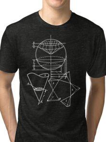 Vintage Math Diagrams - white on black Tri-blend T-Shirt