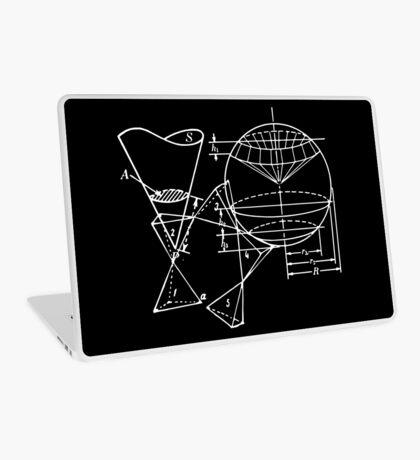 Vintage Math Diagrams - white on black Laptop Skin