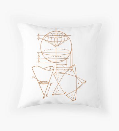 Vintage Math Diagrams - sepia Throw Pillow