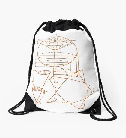 Vintage Math Diagrams - sepia Drawstring Bag