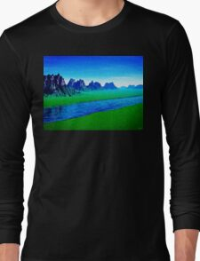 Mountain River Landscape Long Sleeve T-Shirt