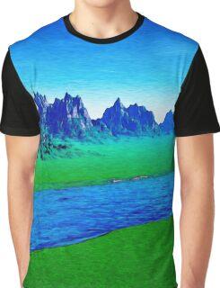 Mountain River Landscape Graphic T-Shirt