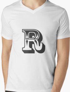R Initial, Letter, Alphabet Mens V-Neck T-Shirt