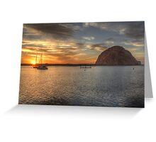 Morro Bay Rock Sunset HDR Greeting Card