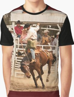 Rodeo Cowboy Riding a Wild Horse Graphic T-Shirt