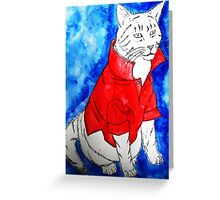 Popped Collar Cat Greeting Card