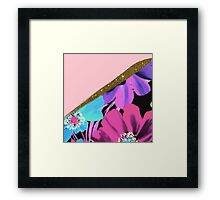 Pretty Girly Pink Gold Glitter and Purple Flowers Framed Print