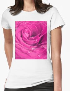 Pink rose Womens Fitted T-Shirt