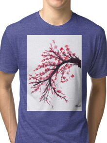Cherry blossom watercolour painting Tri-blend T-Shirt