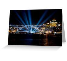 Dom Luis I bridge at night  Greeting Card