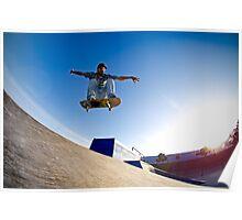 Skateboarder flying Poster