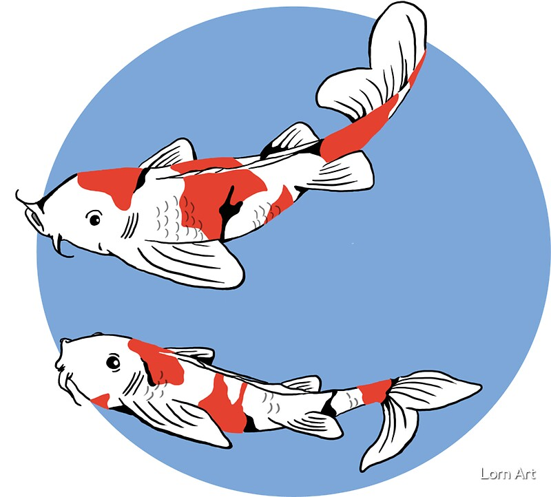 Playing koi stickers by lornarc redbubble for Playing koi