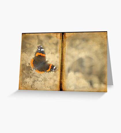 Red Admiral with Book Texture Greeting Card