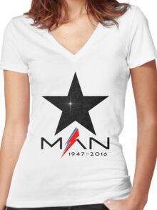 RIP Starman (David Bowie) 1947-2016 Women's Fitted V-Neck T-Shirt