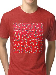 Cute and Colorful Rainbow Pattern on Red Tri-blend T-Shirt