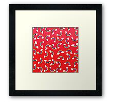 Cute and Colorful Rainbow Pattern on Red Framed Print