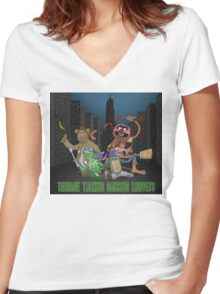 Teenage Talking Dancing Muppets Women's Fitted V-Neck T-Shirt