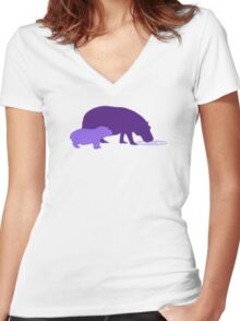 Purple Hippos Women's Fitted V-Neck T-Shirt