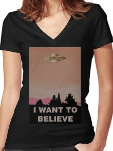 the x-files Women's Fitted V-Neck T-Shirt