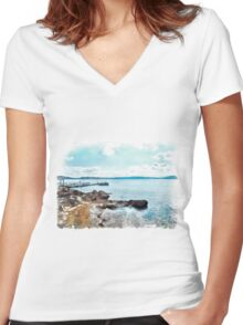 Island La Maddalena: sea landscape Women's Fitted V-Neck T-Shirt