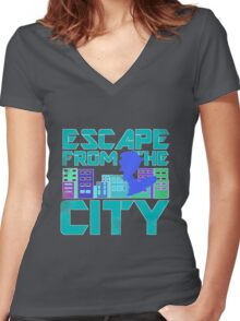 Escape from the City Women's Fitted V-Neck T-Shirt