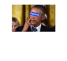 Obama walks into Supreme Newyork Photographic Print