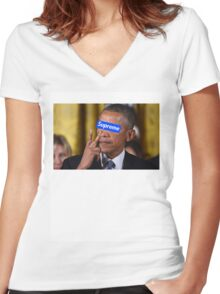 Obama walks into Supreme Newyork Women's Fitted V-Neck T-Shirt