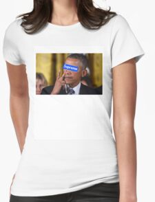 Obama walks into Supreme Newyork Womens Fitted T-Shirt