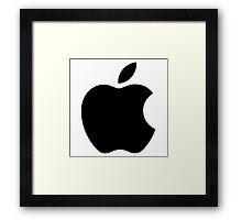 Apple | Black Logo | White Background | High Quality Framed Print